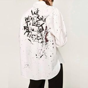 Zara Woman Oversized Painted Button Down Shirt NWT